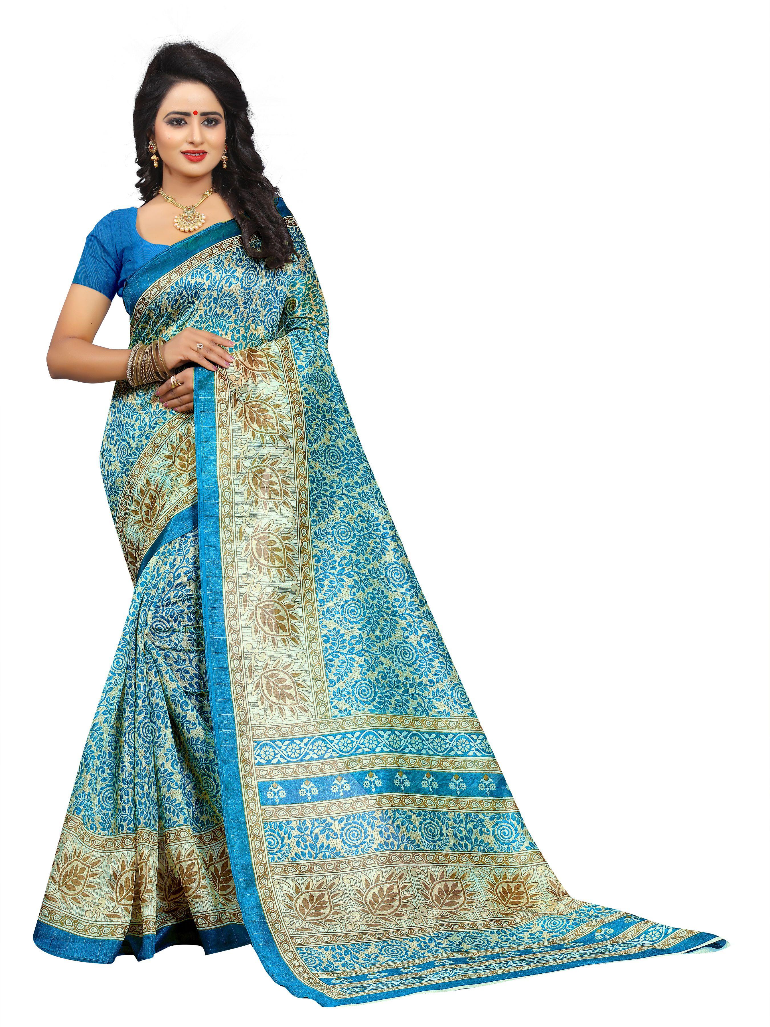 Yashraj Export Blue Bhagalpuri Silk Saree