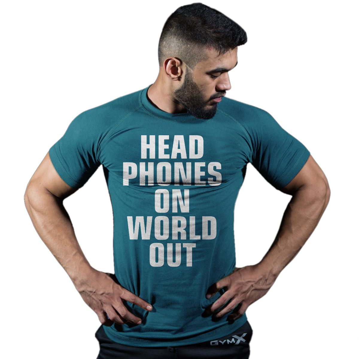 GymX Mens Blue  Headphones On World Out: Classic Tee (Size:Large)