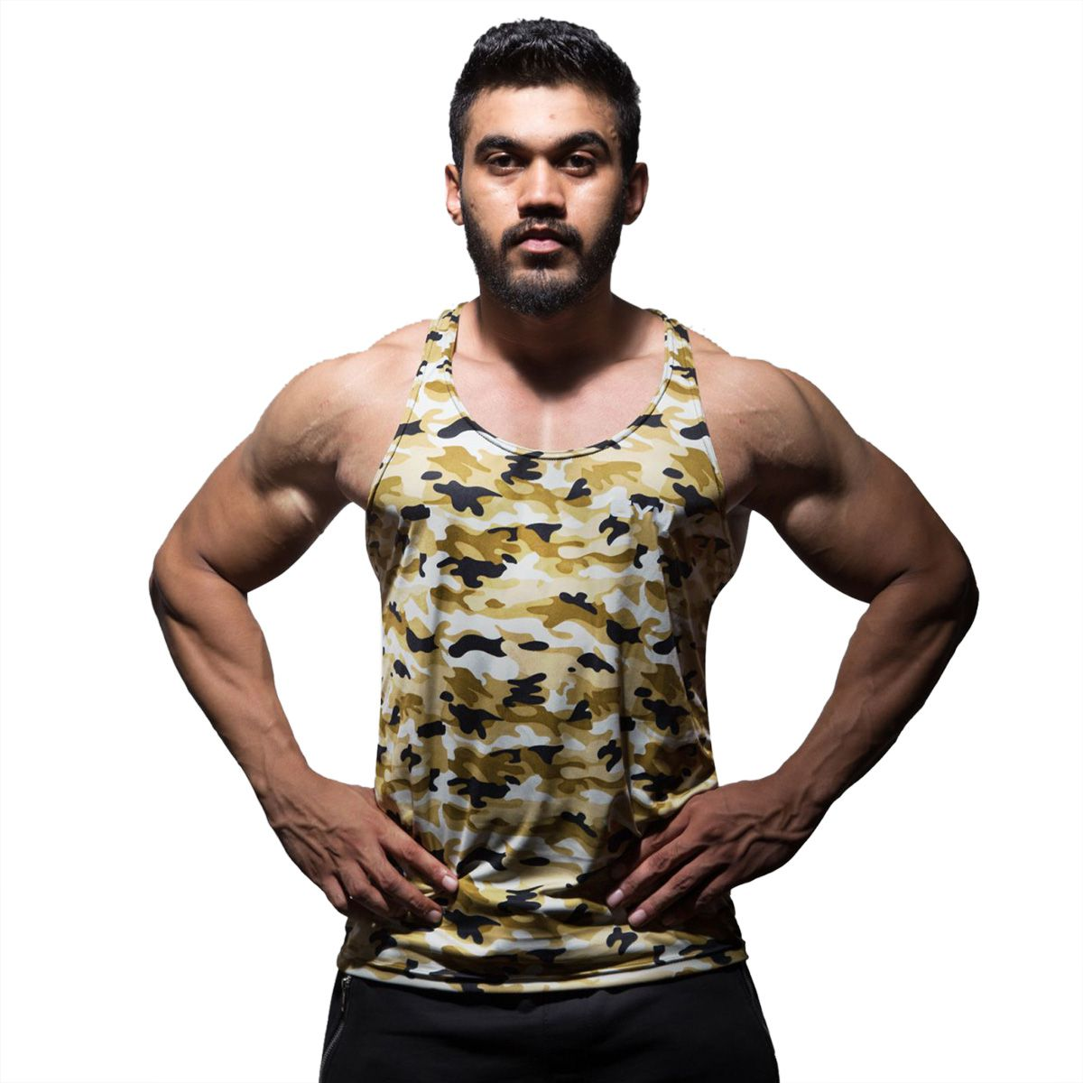 GymX Mens Military Camo Stringer- Desert Yellow (Size:Large)