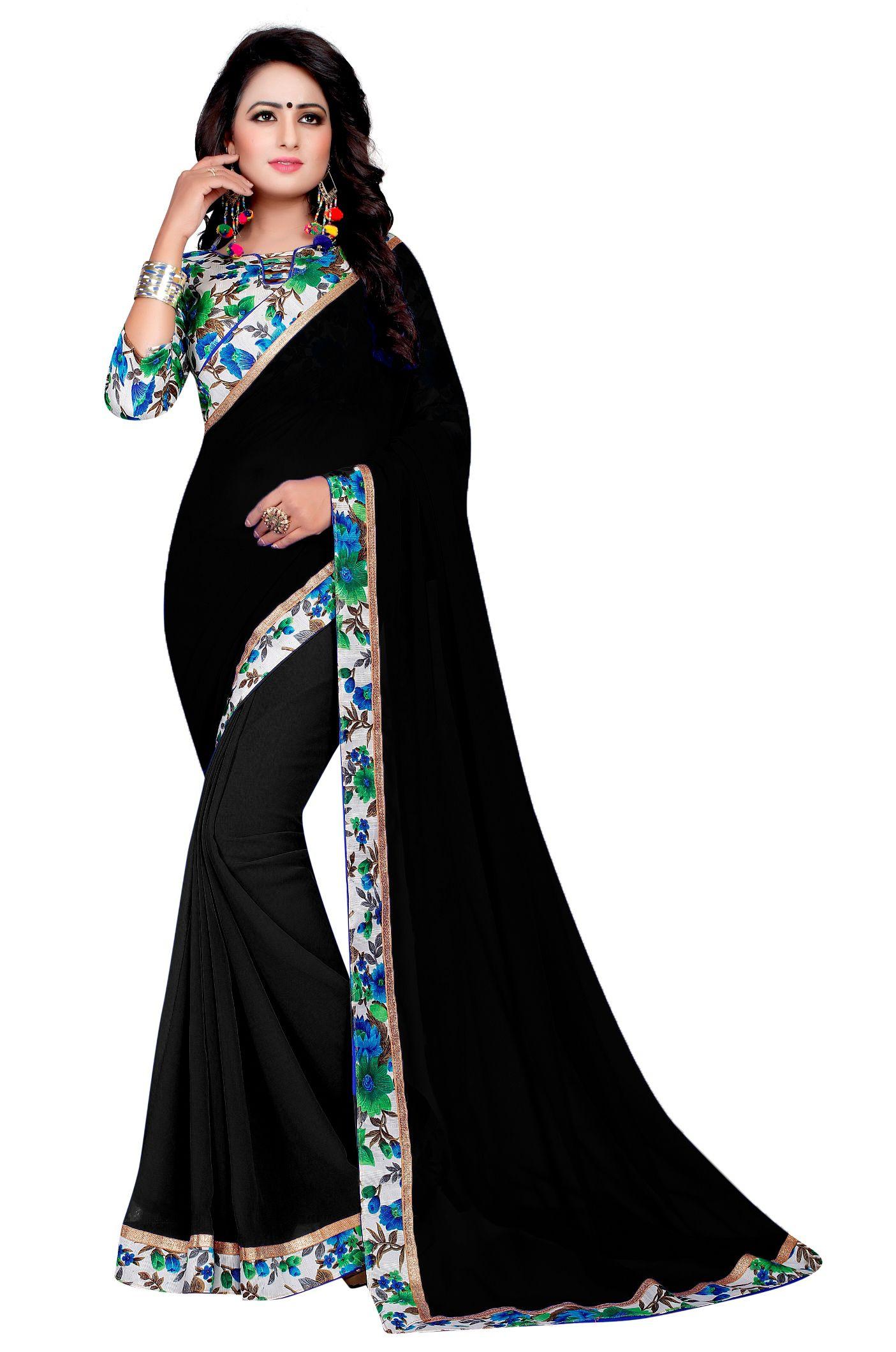 Krishna Emporia Black Georgette Saree