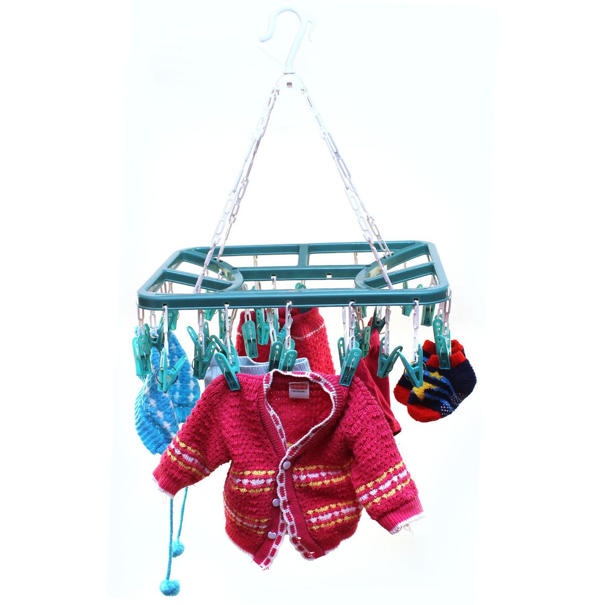 Tnc 32 Clip Laundry Clothesline Hanging Rack For Drying Clothing