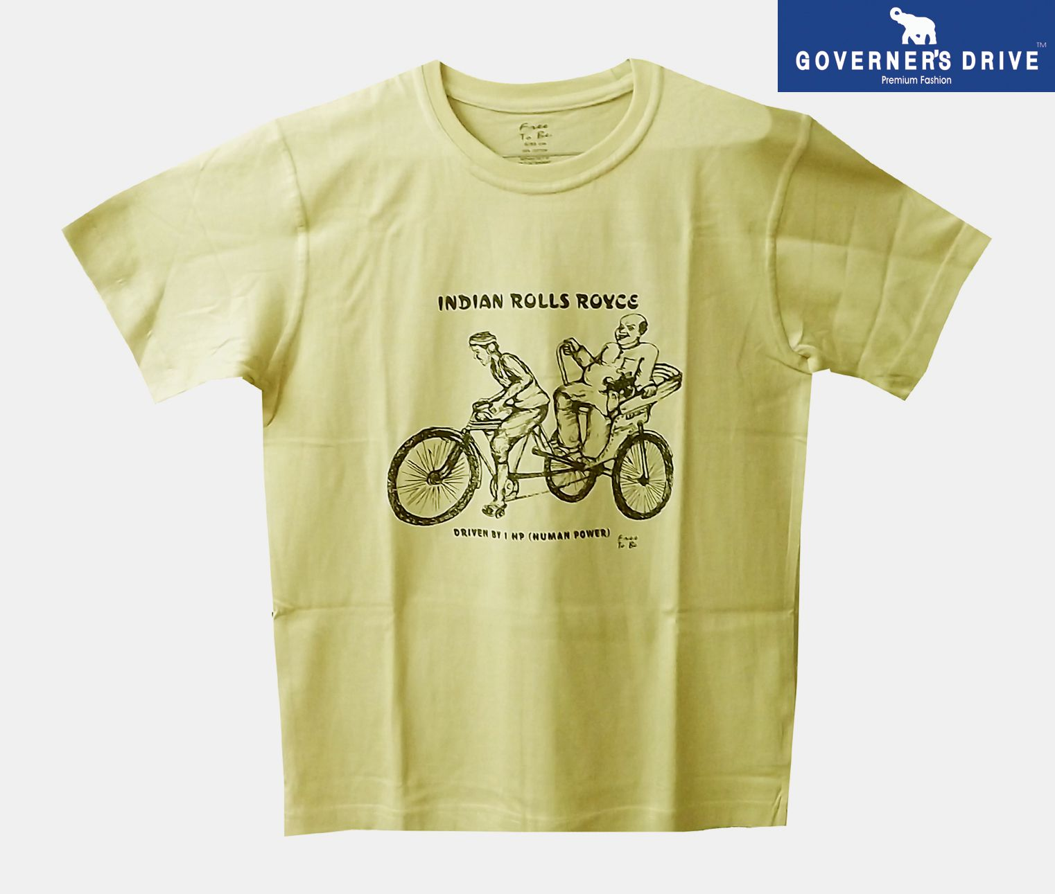 GOVERNER'S DRIVE Beige Round T-Shirt Pack of 1