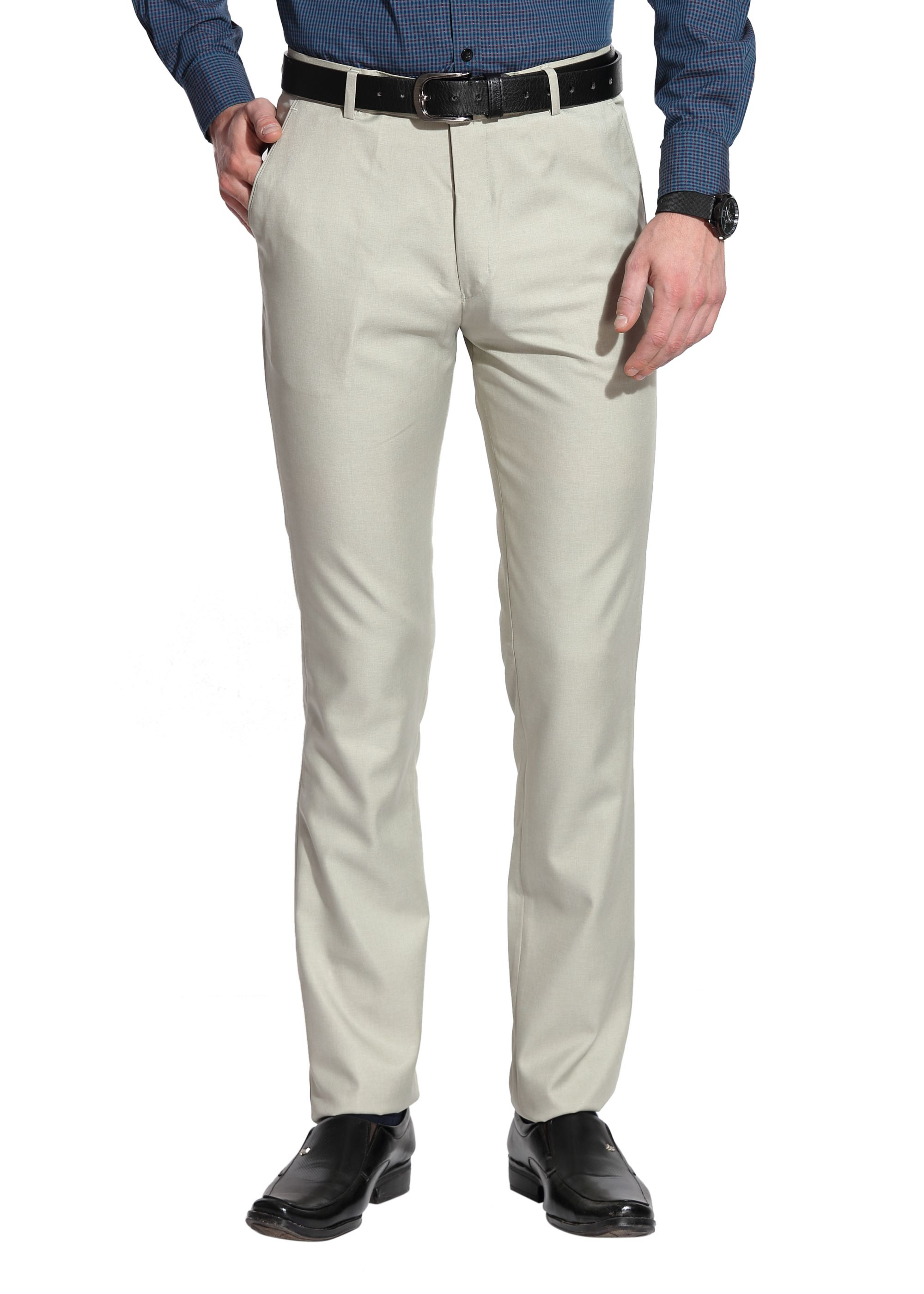 Le Bison Off White Slim -Fit Flat Trousers