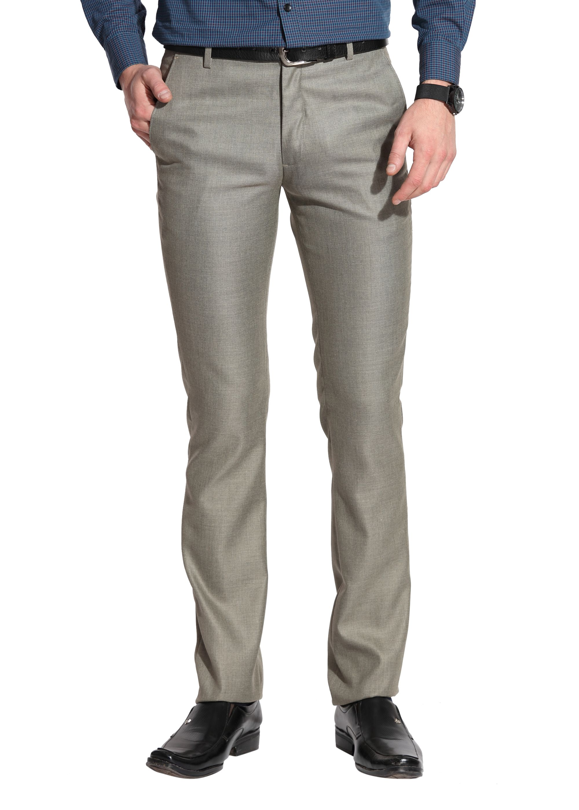 Le Bison Olive Green Slim -Fit Flat Trousers