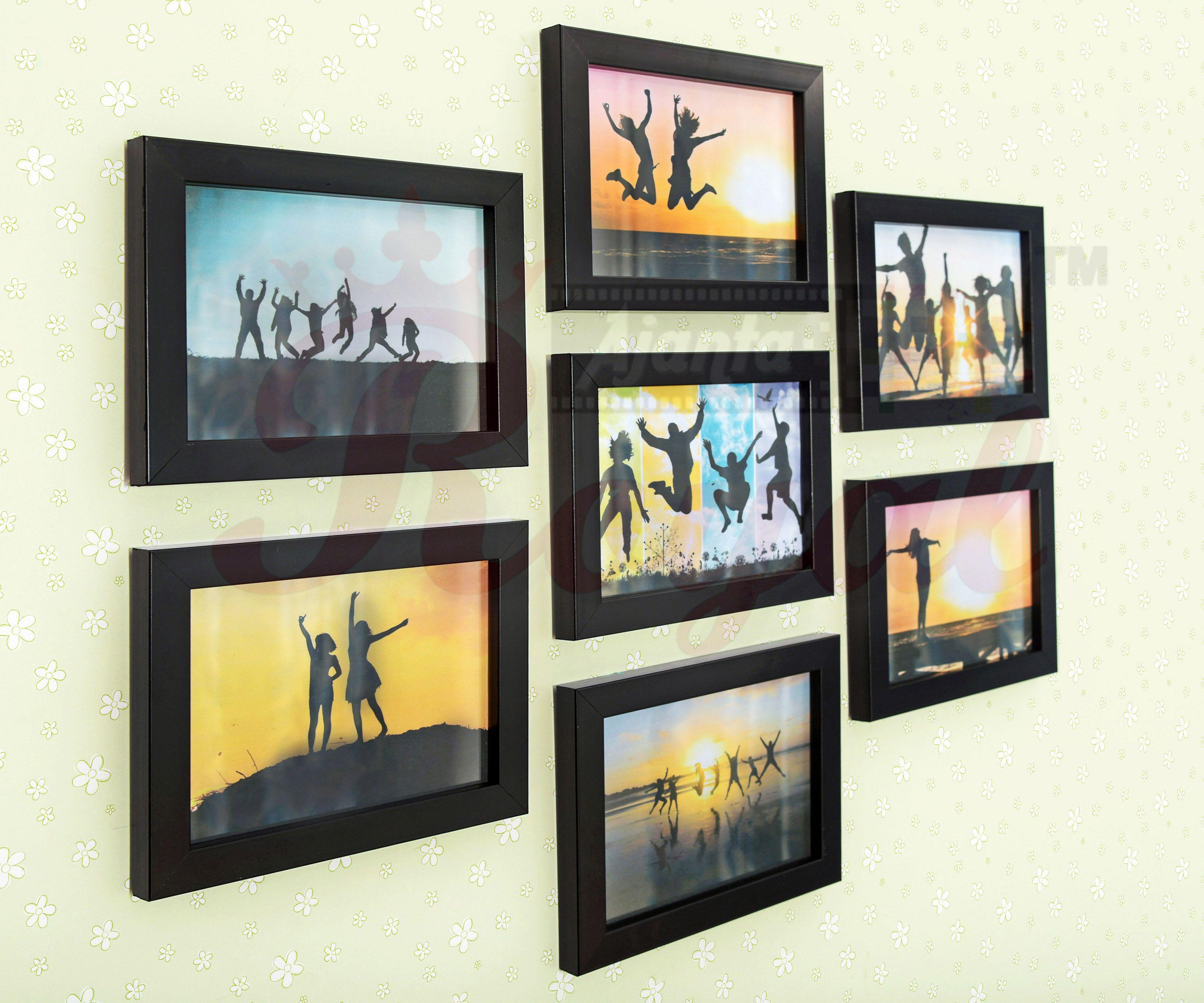 Ajanta Royal Glass Wall Hanging Black Photo Frame Sets Pack Of 7