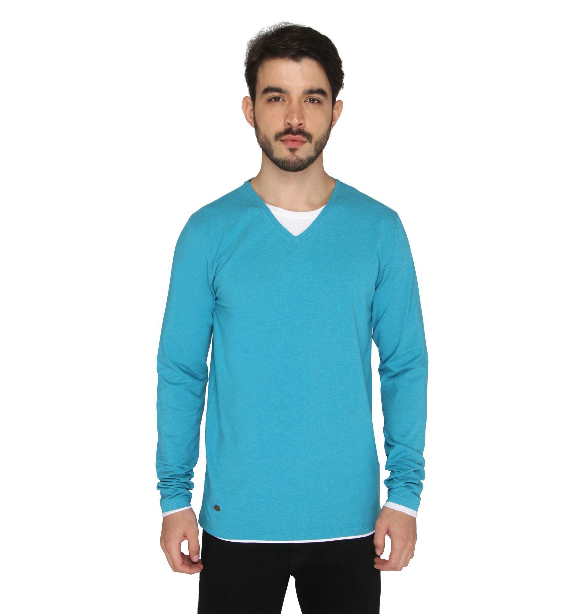 Drastic Turquoise V-Neck T-Shirt