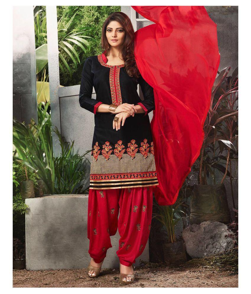 Mastani Black Cotton Dress Material