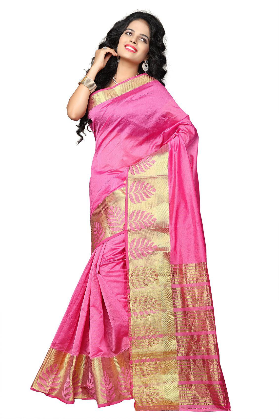 Pemal Designer Peach Banarasi Silk Saree