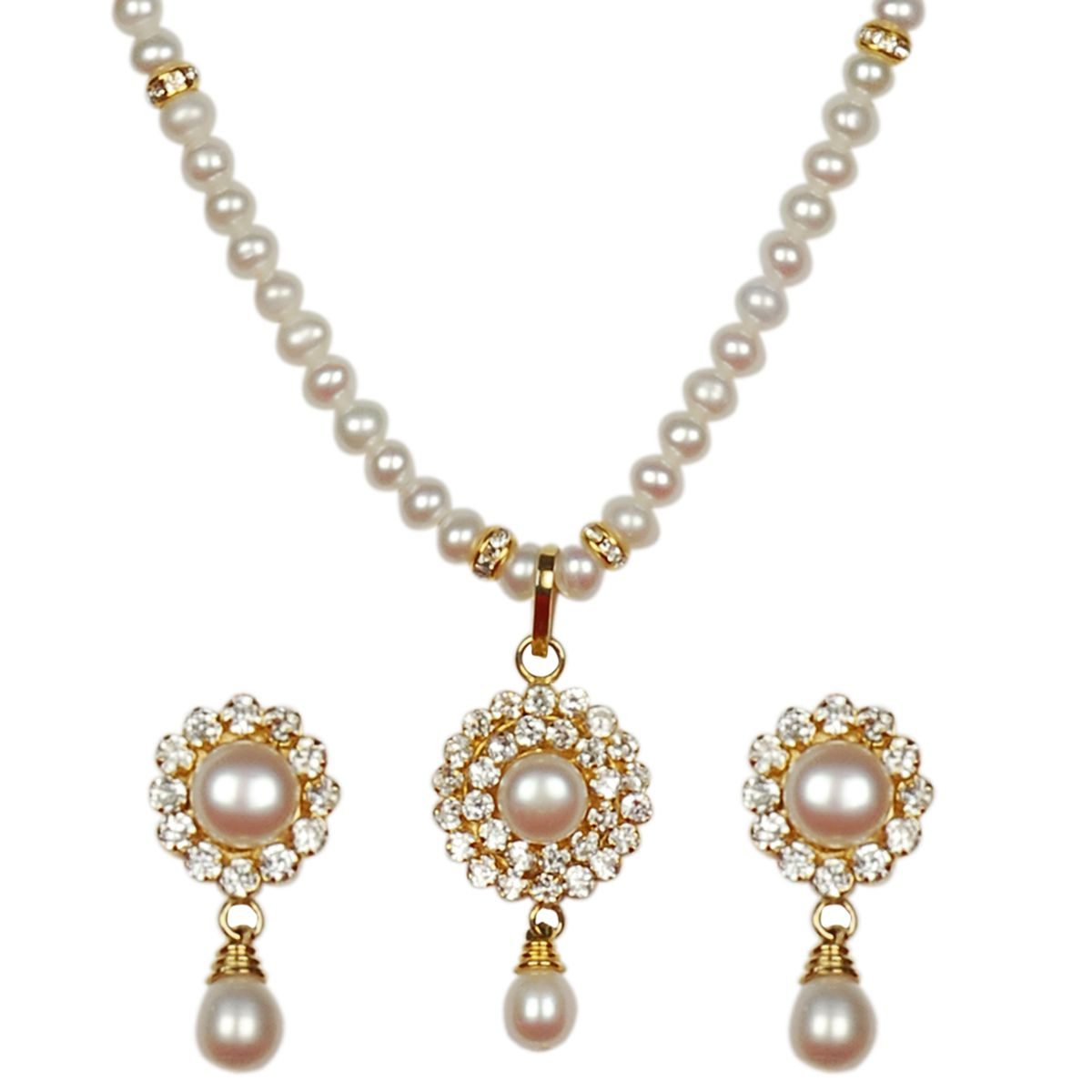 SINGLE STRING PEARL SET WITH ROUND PENDENT