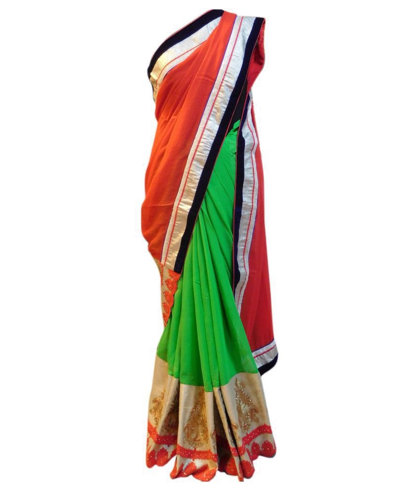 SMSAREE Red Georgette Saree