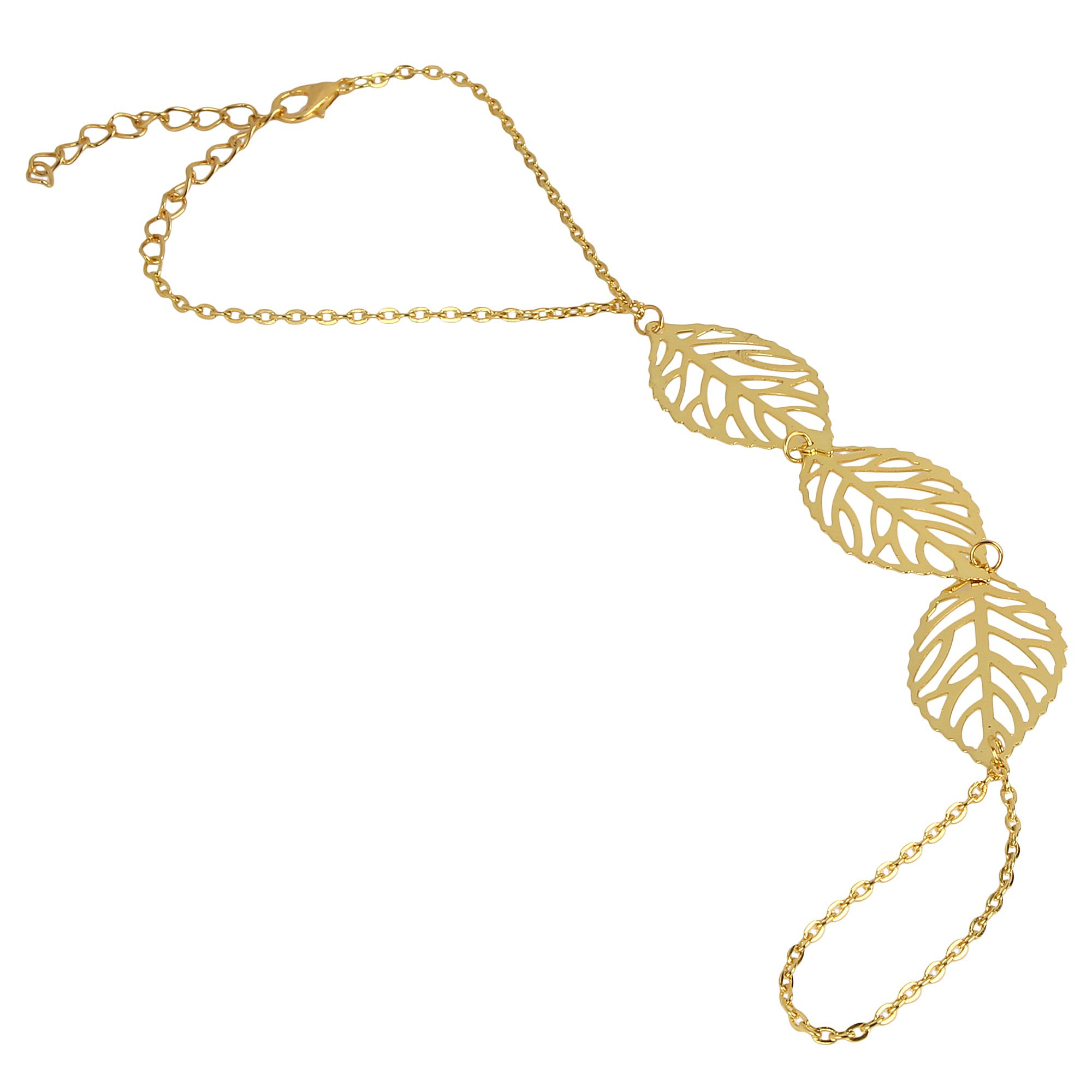 Fayon Chic Stylish Golden Leaf Charm Bracelet With Connected Ring