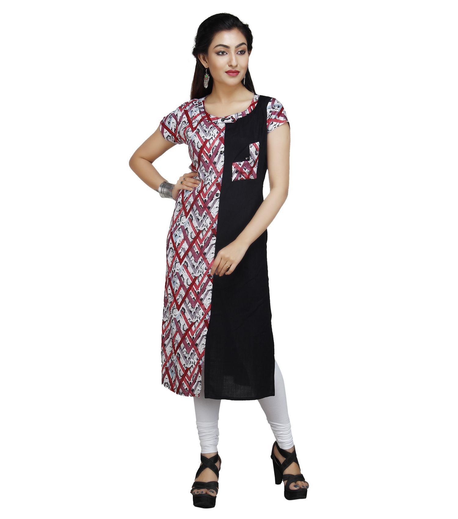 Vedika Creations Multicoloured Cotton Straight Kurti