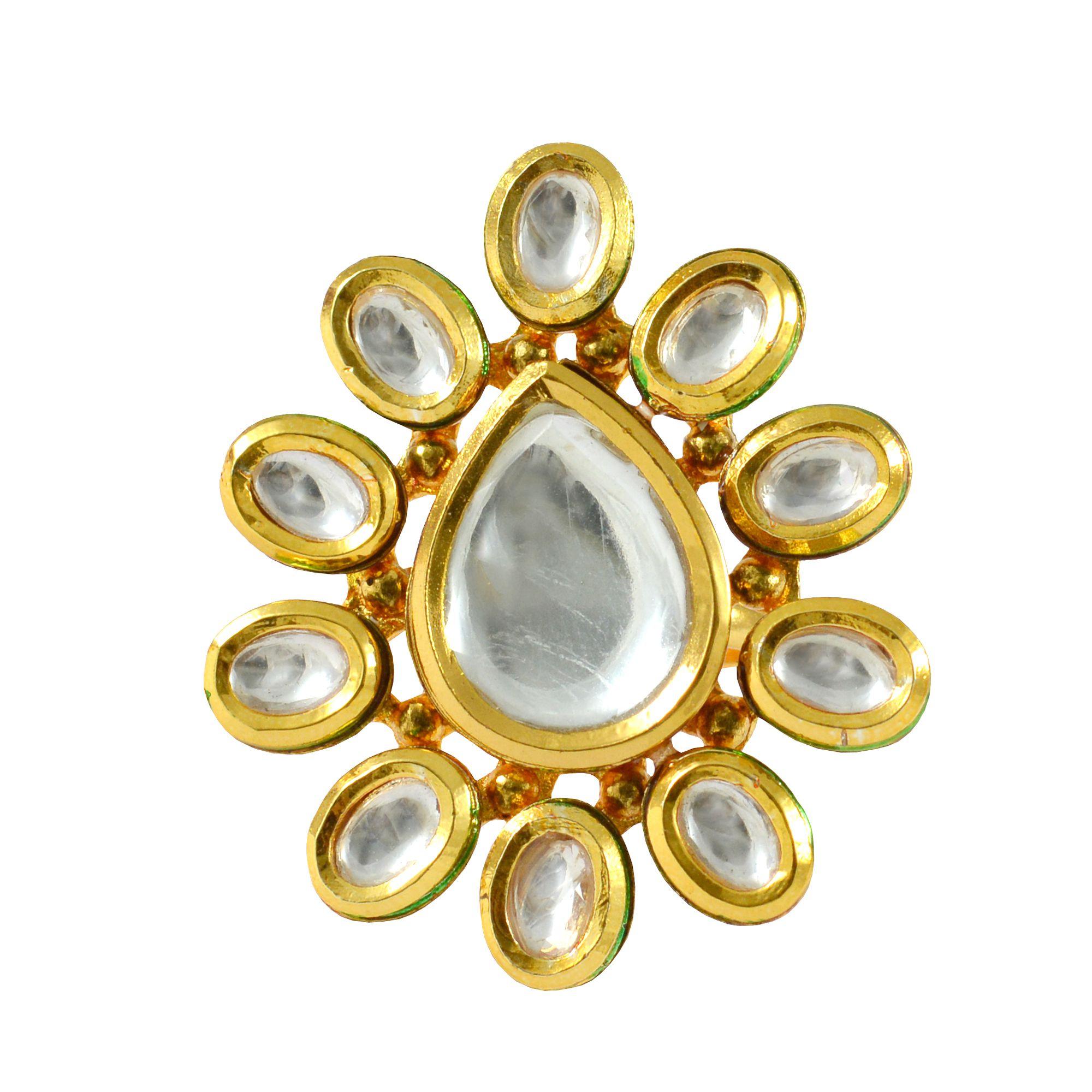 Rejewel Free Size Polki Ring For Women