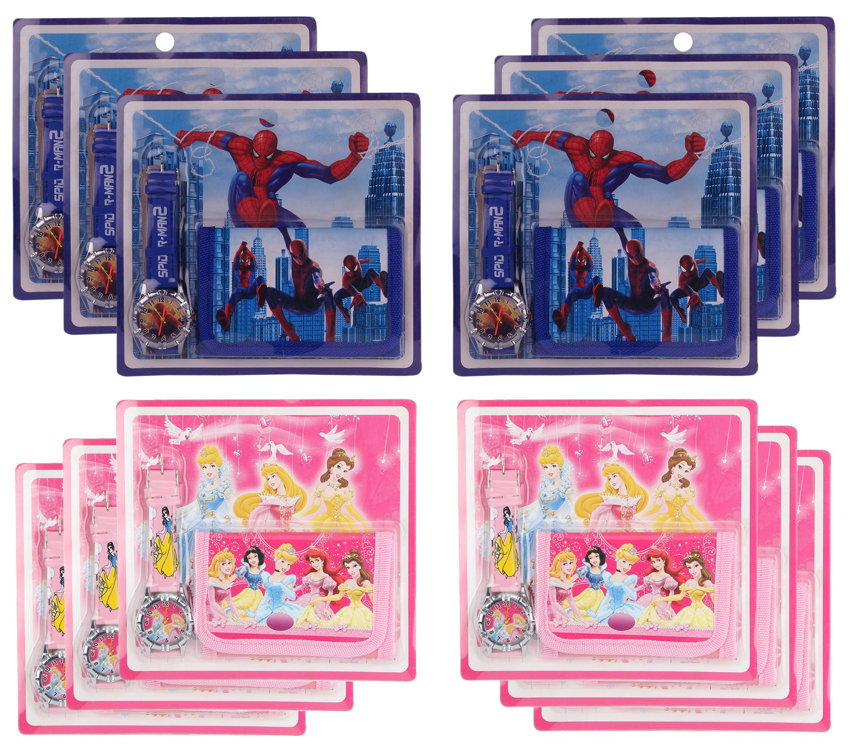 Aarvi Princess And Spiderman Character Watch Wallet Set Birthday Return Gift For Kids Pack Of 12 Sets Buy Online At Low Price In India