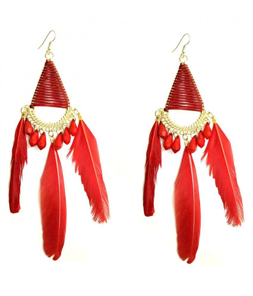 Turqueesa Beaded Triangle Style Long Feather Tassel Dangler - Red