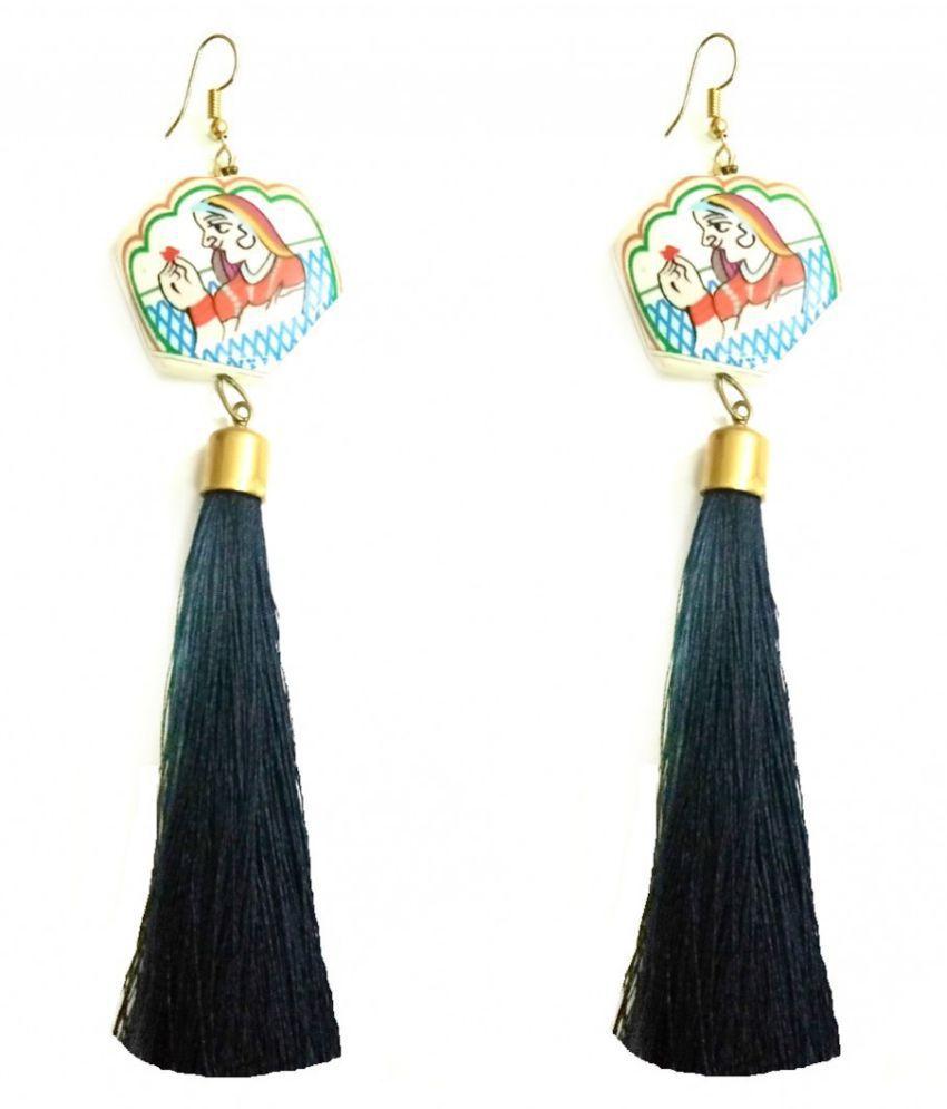 Turqueesa Traditional Girl Print Playful Tassel Long Dangler - Blue