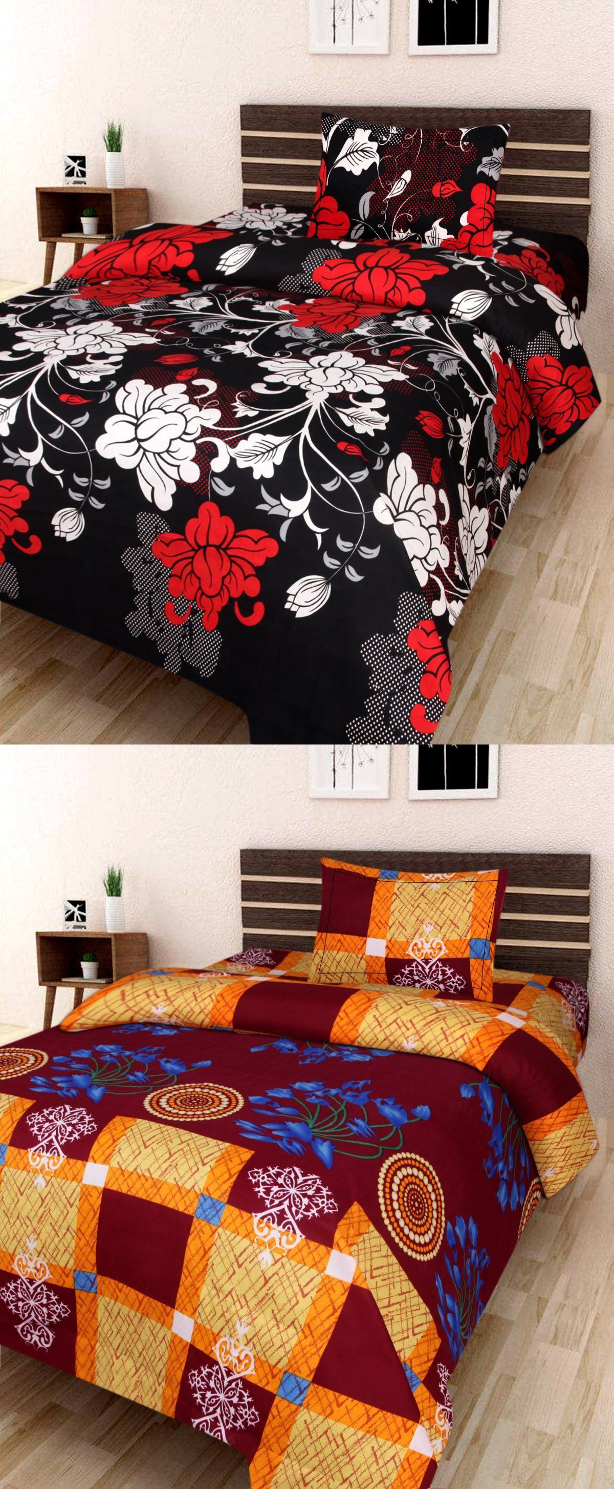 Veer Fab Poly Cotton 2 Single Bedsheets with 2 Pillow Covers