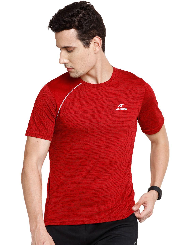 Alcis Mens Maroon Solid Tshirt