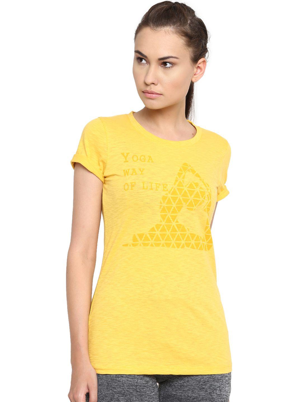Alcis Womens Yellow Printed Tshirt
