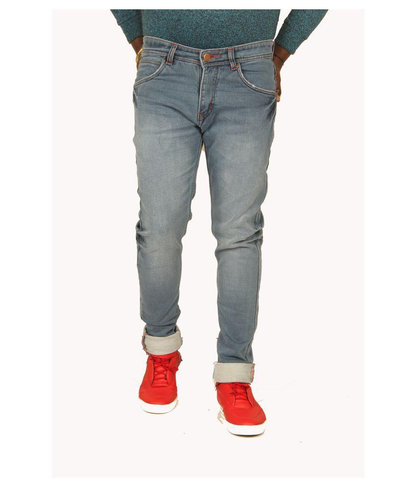XCESS Light Blue Regular Fit Jeans