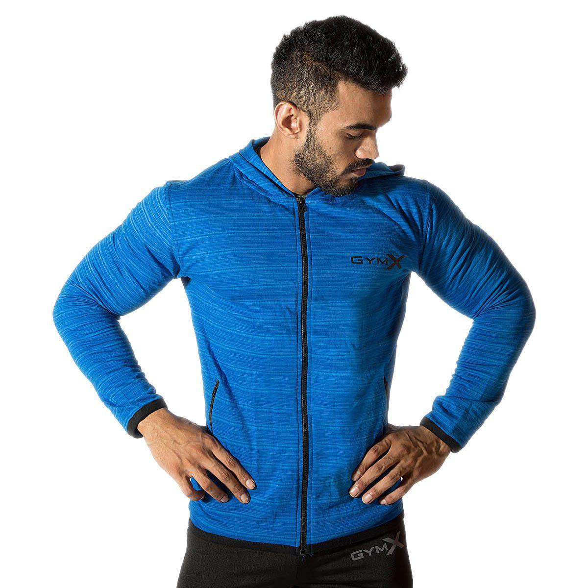 GymX Mens Cotton Legacy Hoodies- Arabian Blue