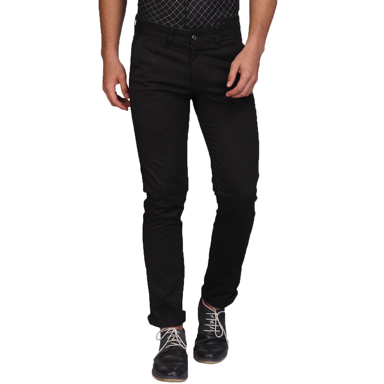 A La Mode Black Slim -Fit Flat Trousers
