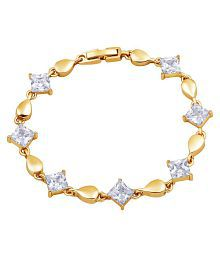 Asmitta Enchanting Square Shape Stone Gold Plated Bracelet For Women