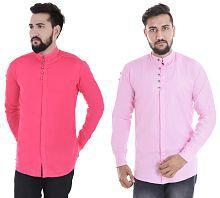 VERO LIE Pink Slim Fit Shirt Pack of 2