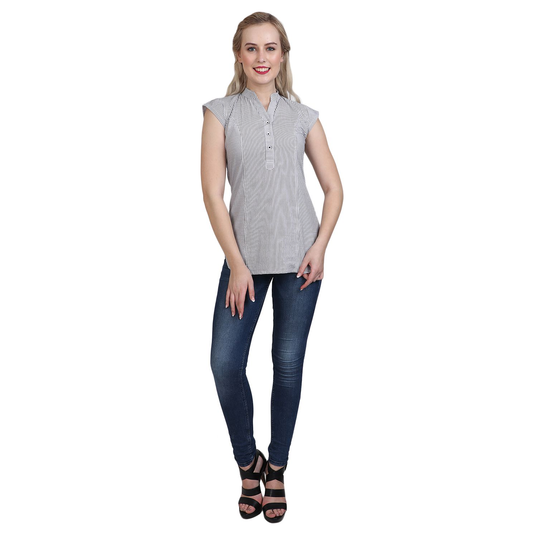 Vaijyanti Cotton Regular Tops - Grey