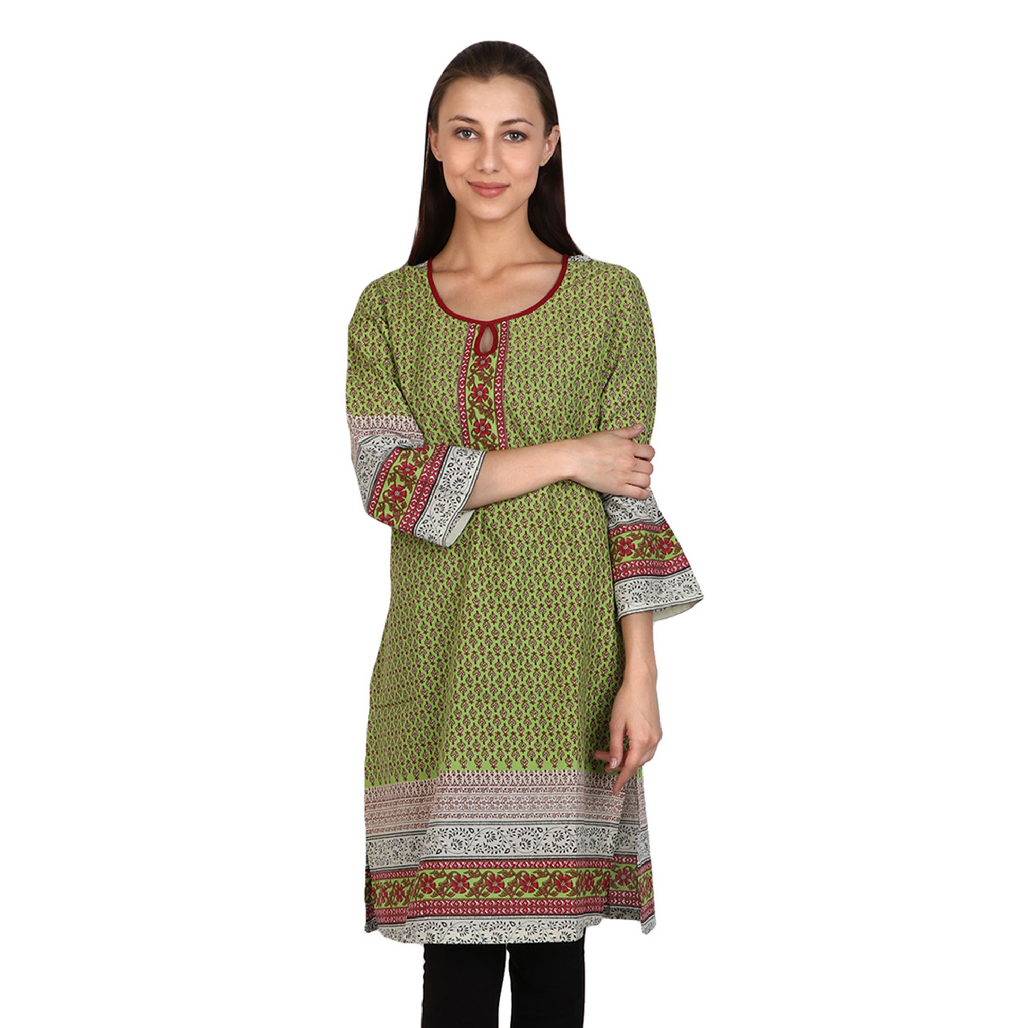 Vaijyanti Green Cotton A-line Kurti