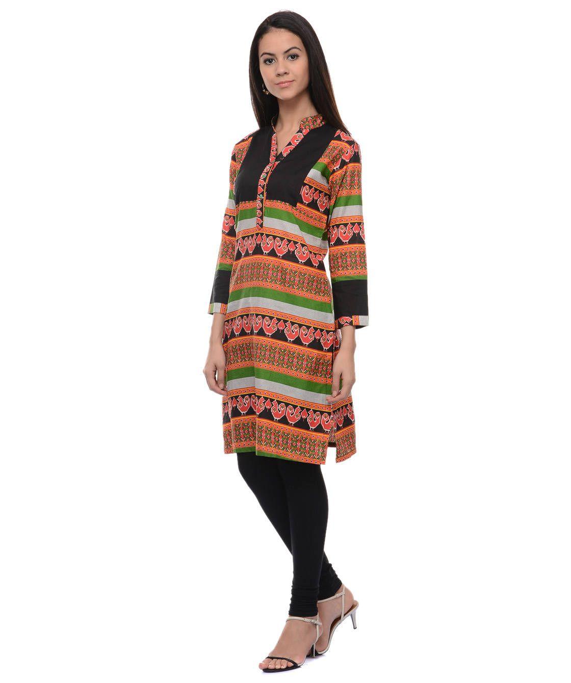 Vaijyanti Multicoloured Cotton A-line Kurti