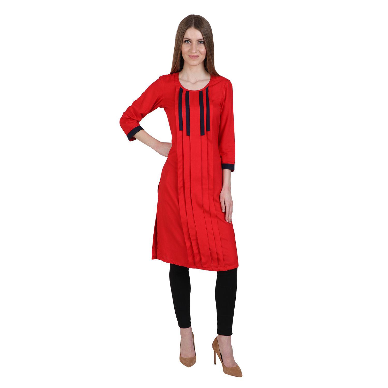 Vaijyanti Red Rayon A-line Kurti