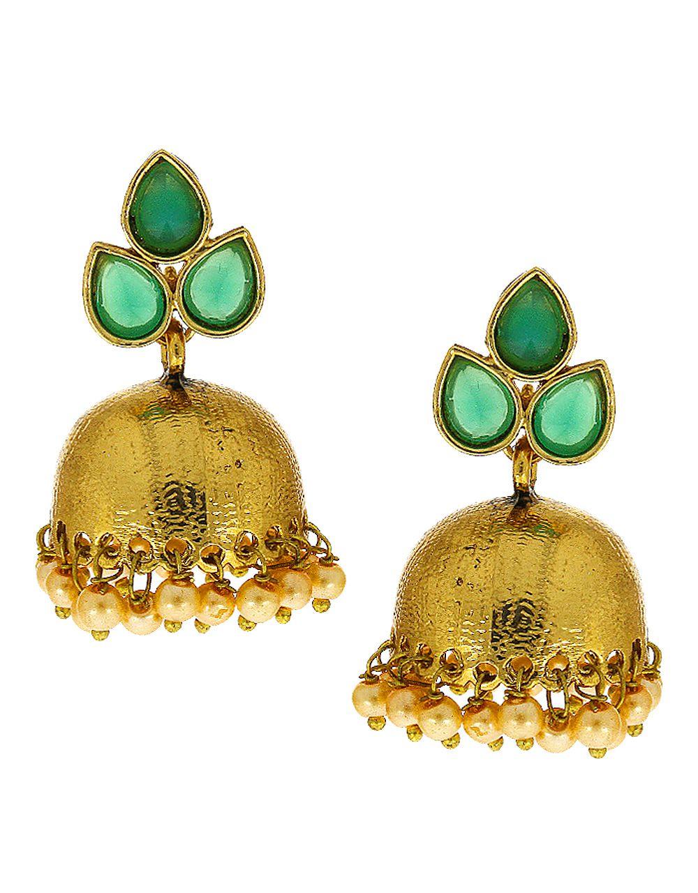 Anuradha Art Green Colour Pearl Beads Droplet Styeld Very Pretty Adorable Designer Traditional Jhumki/Jhumkas Earrings For Women/Girls