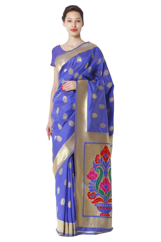 Makewayin Blue and Purple Banarasi Silk Saree