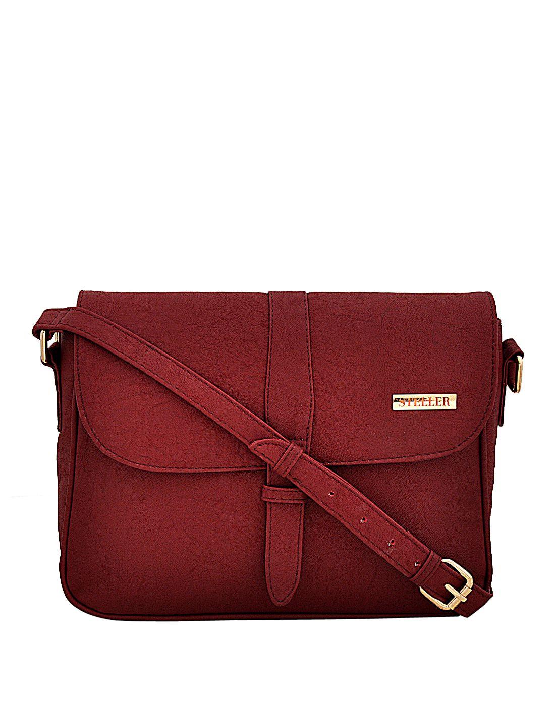 Steller Maroon Faux Leather Sling Bag