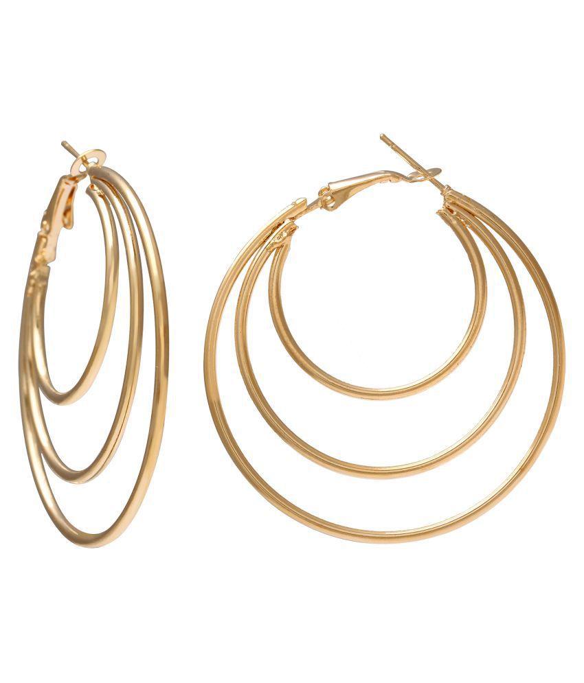DzineTrendz Gold Plated Brass Three round stylish Hoop bali earrings Brass Hoop Earring