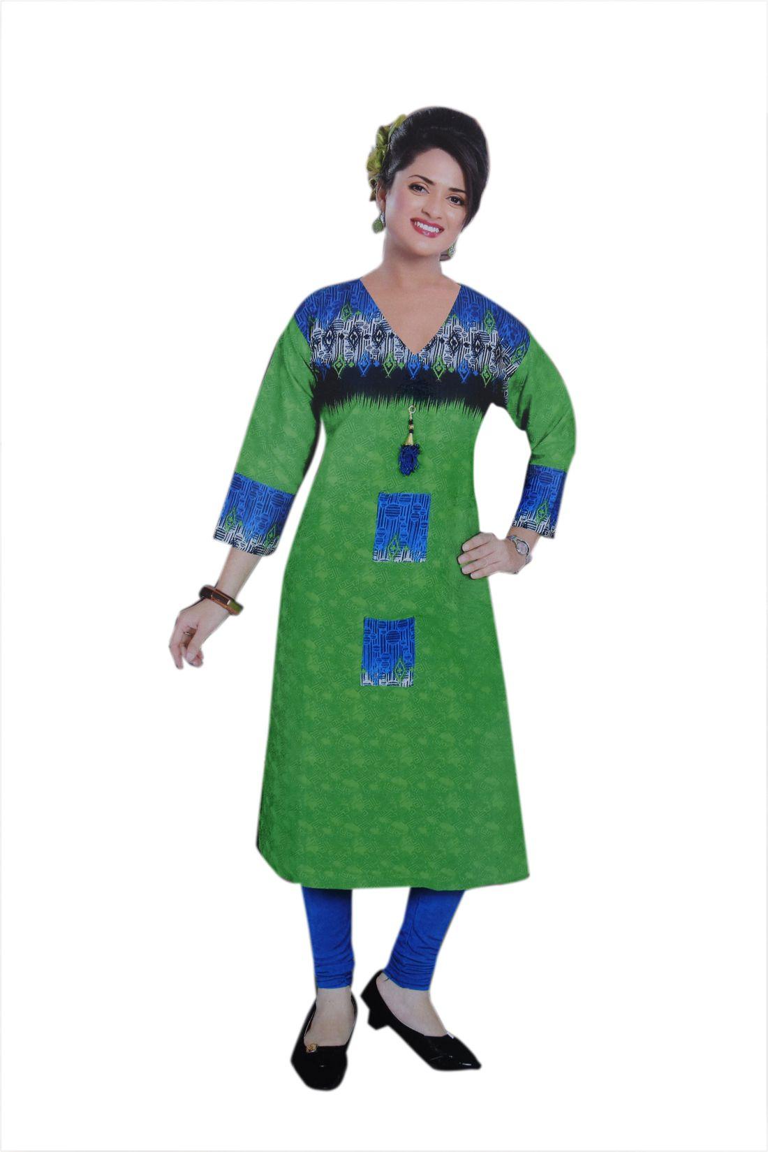 JBS SUCHI FASHION Green Poly cotton Straight Kurti