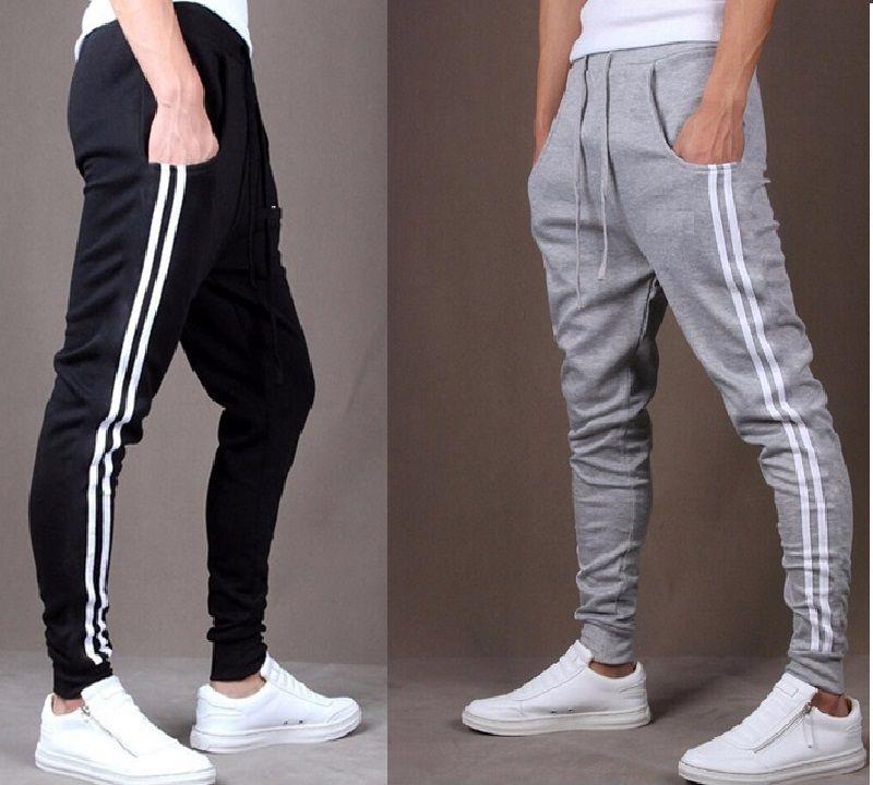 Pack Of 2 Men's Black & Grey Cotton Blend Trackpants / Gym Wear