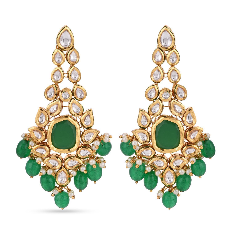 Tistabene Traditional Uncut Polki Green Kundan Meena Designer Latest Trendy Party Wear Dangler Earrings For Women and Girls (ER-3450)