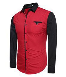 Ud Fabric Red Regular Fit Shirt