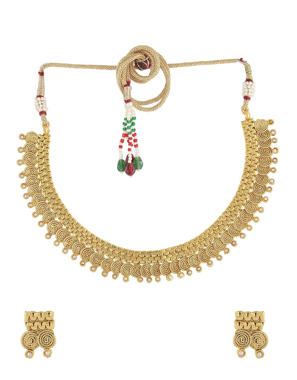 Anuradha Art Gold Finish Styled With Pearl Beads Coin Pattern Wonderful Traditional Necklace Set For Women/Girls