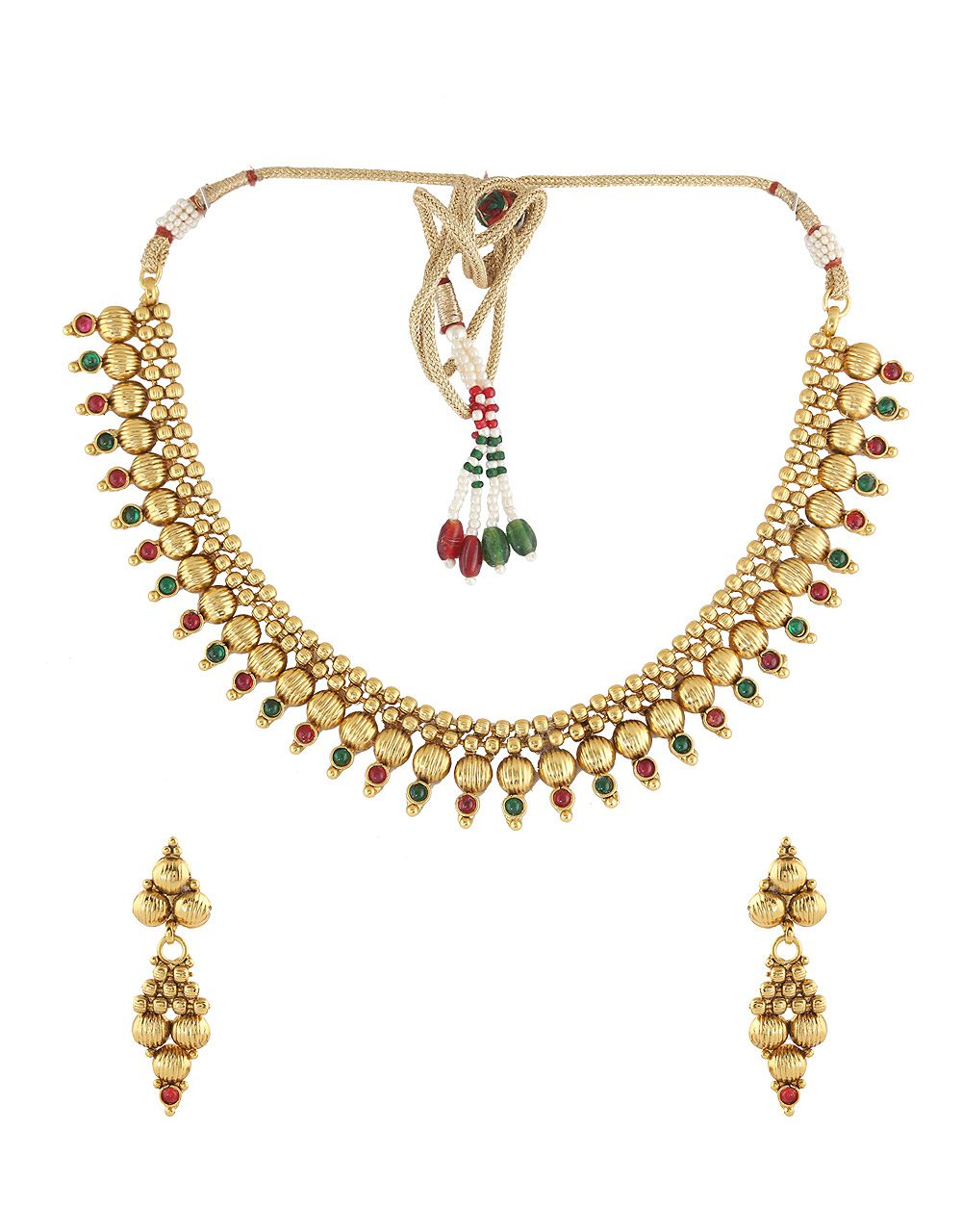 Anuradha Art Red-Green Combination Golden Beads Styled Wonderful Classy Traditional Necklace Set For Women/Girls