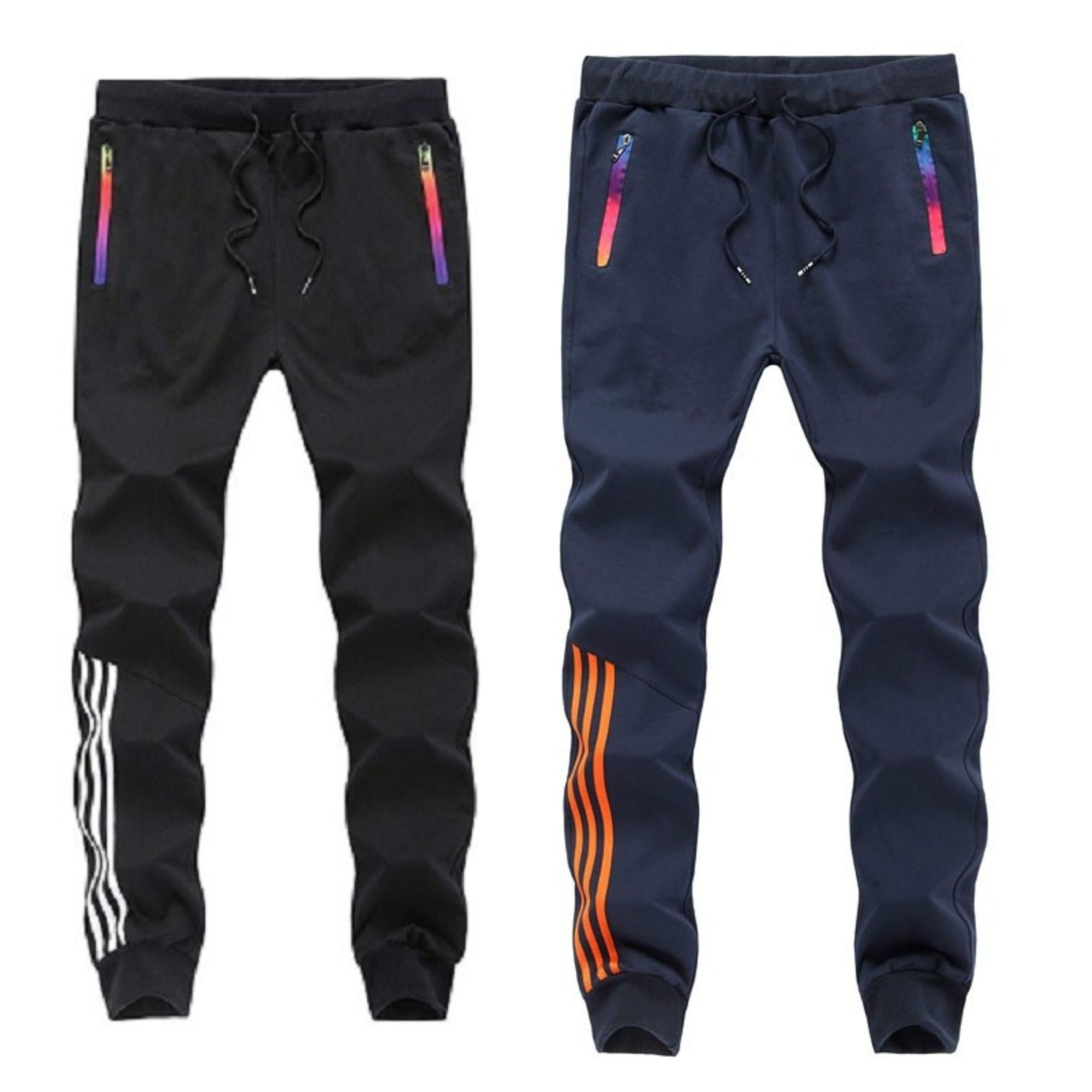 Joggers Park Pack Of 2 Black Blue Skinny Fit Sports Track Pants For Mens With Zipper Pockets
