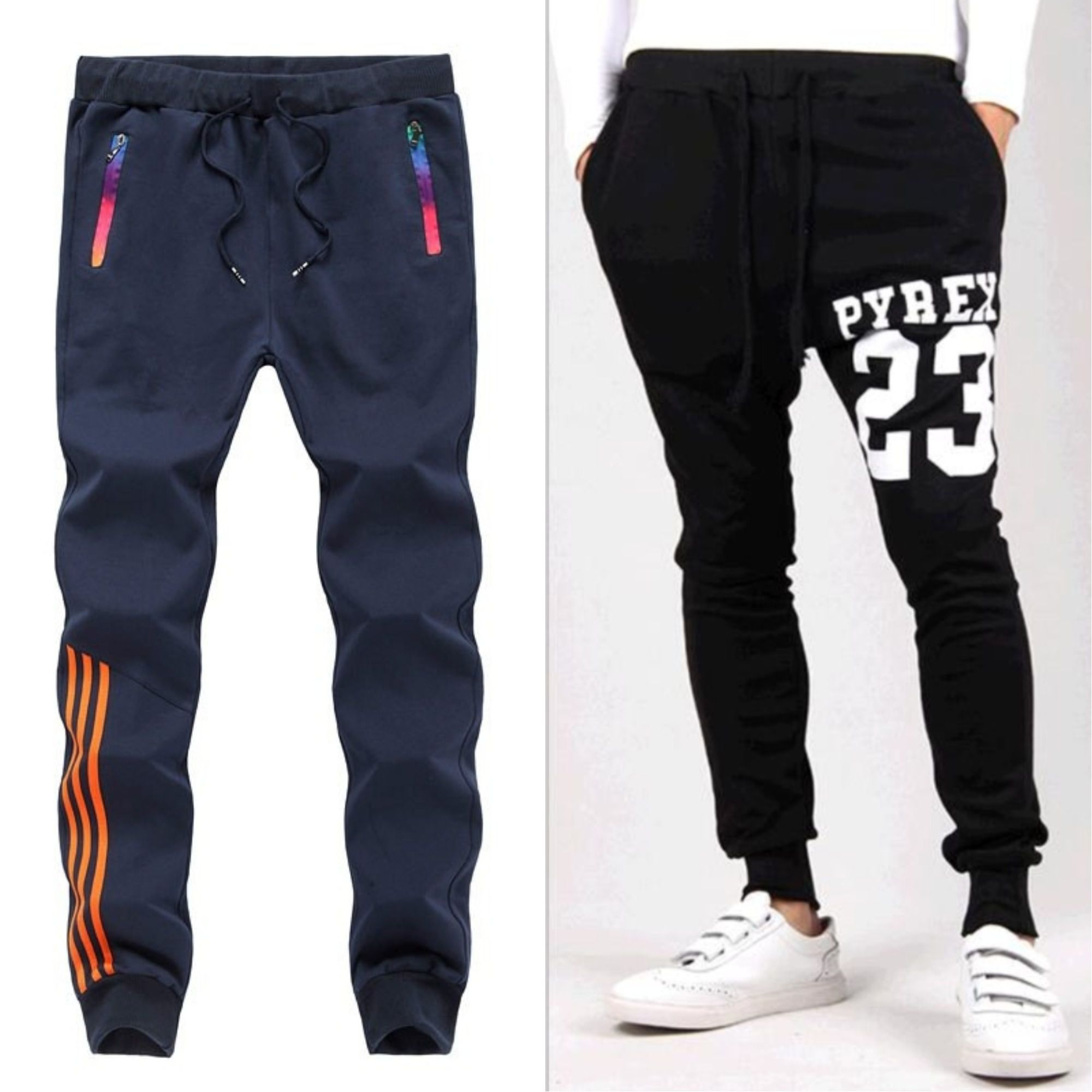 Joggers Park Pack Of 2 Black Blue Skinny Fit Sports Track Pants For Mens