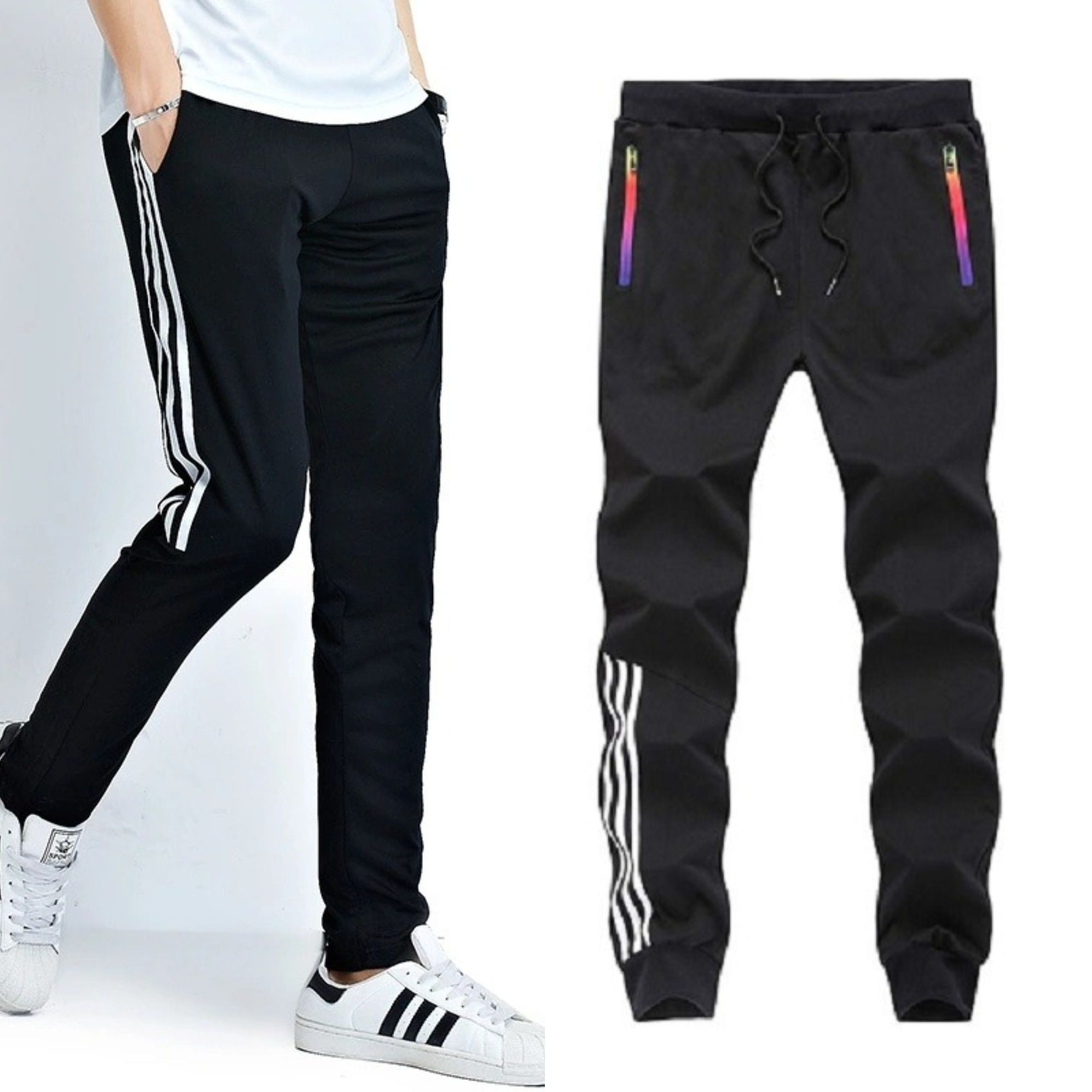 Joggers Park Pack Of 2 Black Skinny Fit Sports Track Pants For Mens