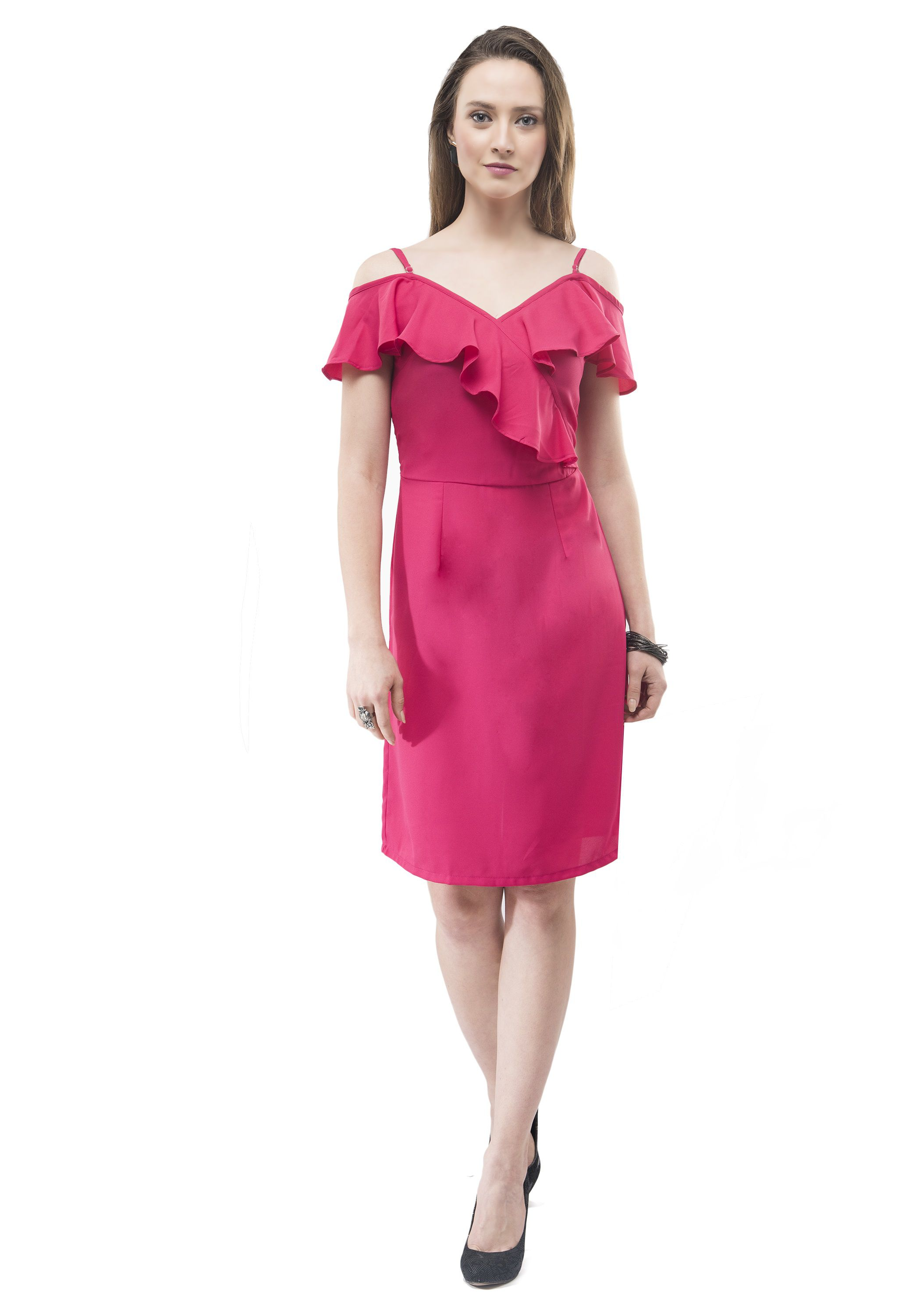 V amp;M Polyester Pink Shift Dress