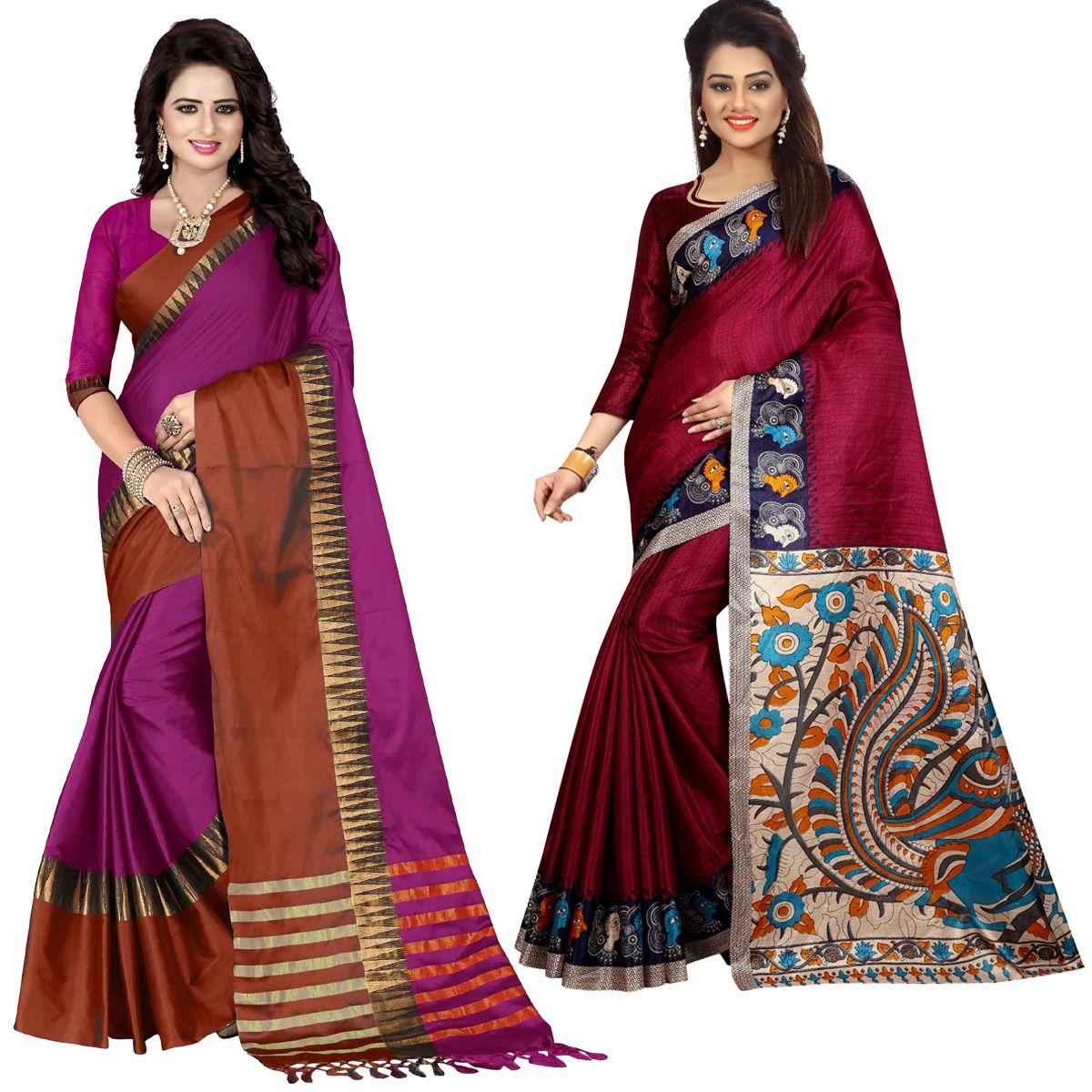 Zypara Multicoloured Cotton Silk Saree Combos