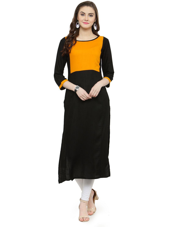 Shaily Retails Black Rayon Straight Kurti