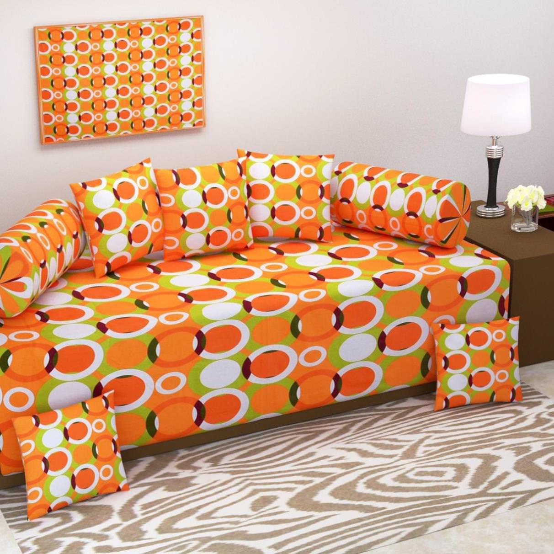 Fresh From Loom Cotton Orange Abstract Diwan Set 8 Pcs