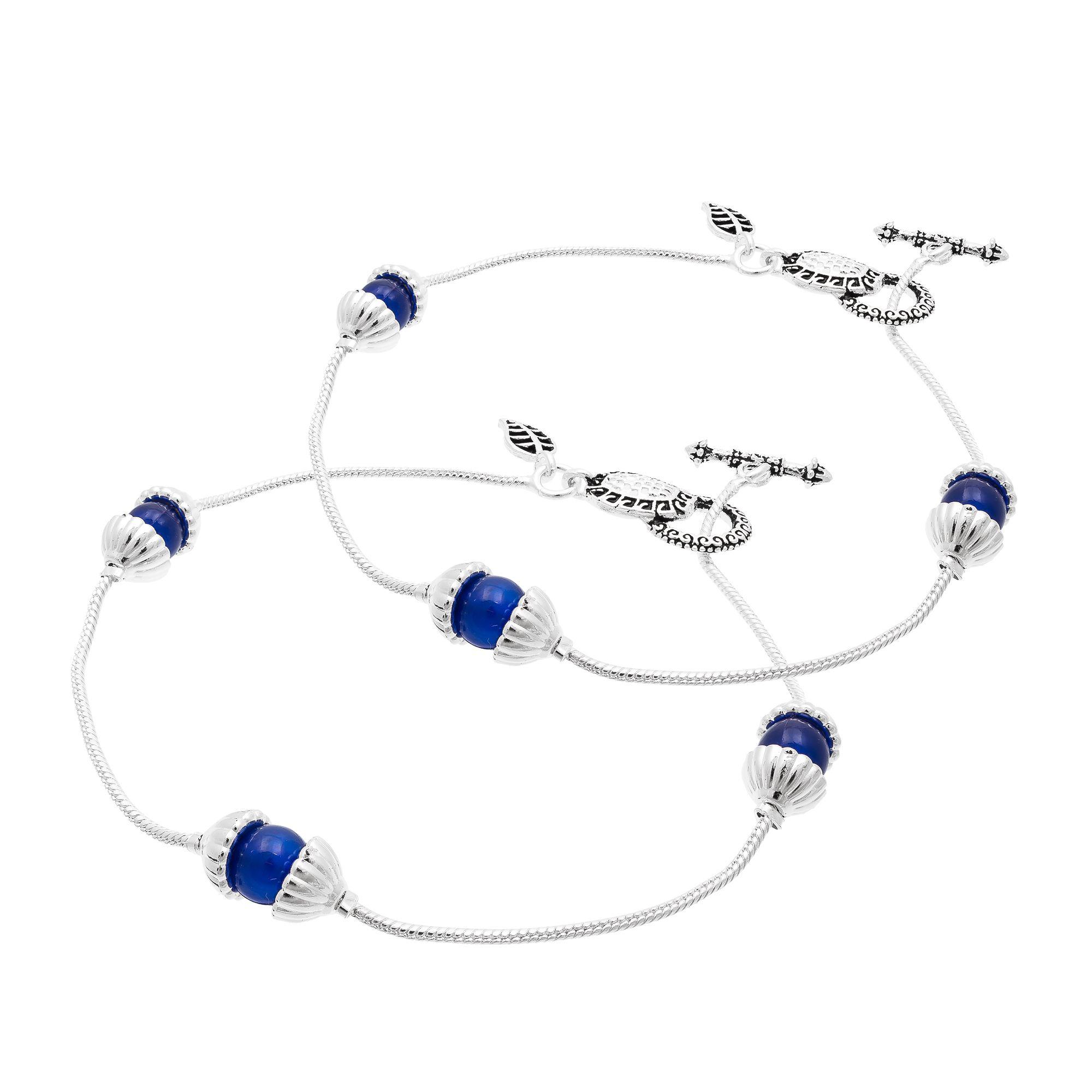 Pankh Silver and Blue Payal for Women AK-043